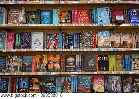 Townsville, Queensland, Australia - October 2020: Novels On Display For Sale In Bookstore