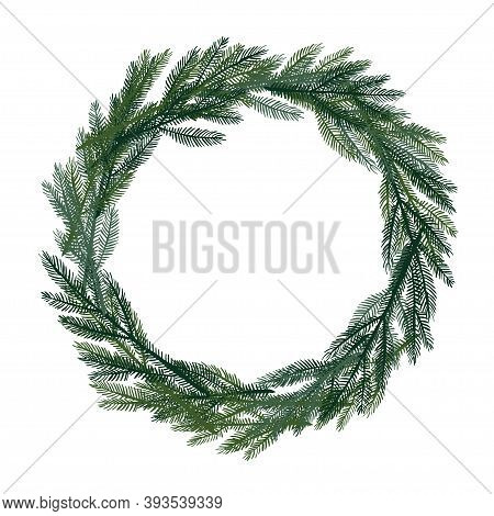 Christmas Wreath. Evergreen Branches Frame With Place For Date, Inscription, Text. Vector Illustrati