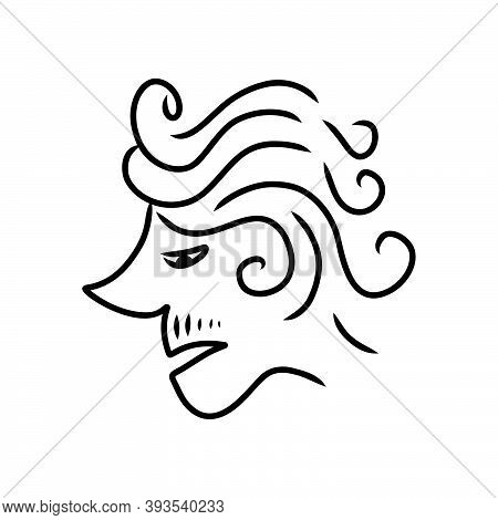 Abstract Line Drawing  Of Human Face. Modern Line Art Man And Woman Portrait, Minimalist Contour. Ve
