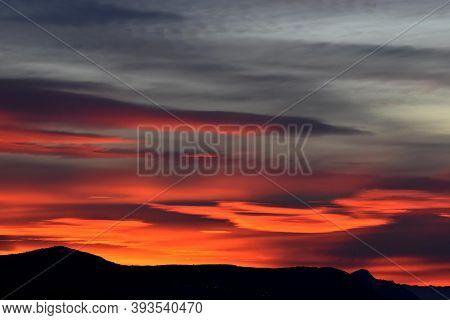 Morning Sky Over The Roofs. Sunrise. Urban Landscape. Dawn. Daybreak. Sunset/ Dark Beautiful Sunset