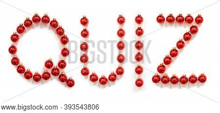 Red Christmas Ball Ornament Building Word Quiz