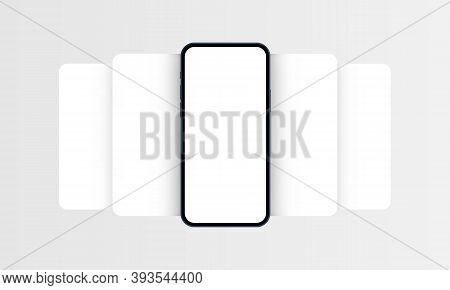 Smartphone Frame Mockup With Blank App Screens. Mobile App Design Concept For Showcasing Screenshots