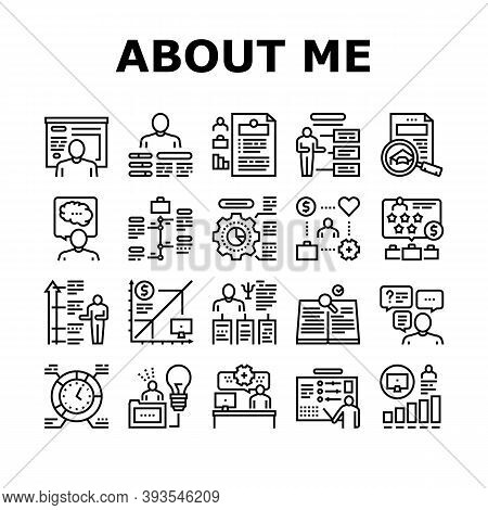 About Me Presentation Collection Icons Set Vector. Positive And Negative Human Traits About Me, Busi