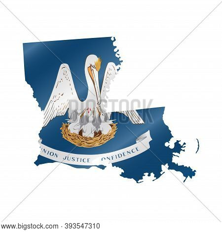 Detailed Waving Flag Map Of Louisiana. Vector Map With Masked Flag.