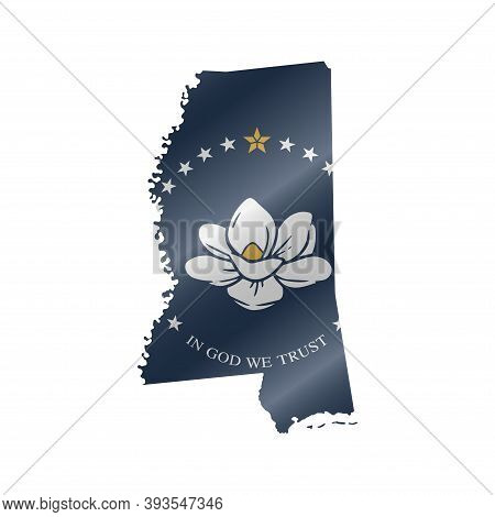 Detailed Waving Flag Map Of Mississippi. New Magnolia Flag. Vector Map With Masked Flag.