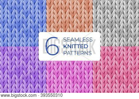 Set Of Realistic Seamless Knitted Pattern In Pastel Colors. Merino Wool, Yarn Texture For Background