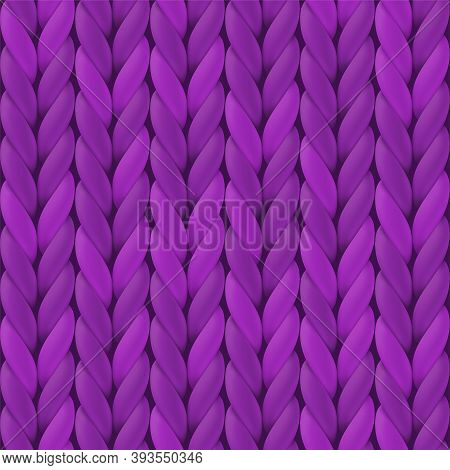 Purple Realistic Knitted Texture For Wallpaper And Background. Vector Seamless Pattern. Illustration