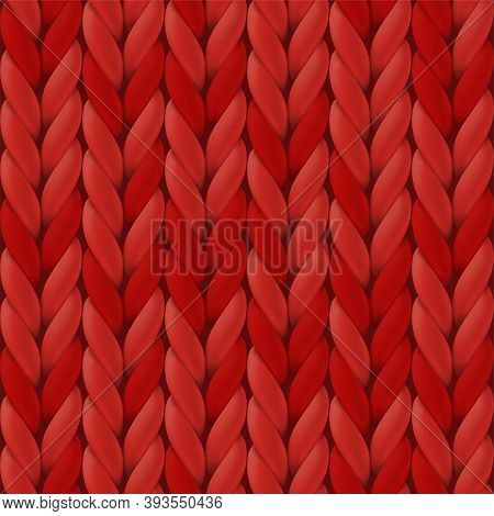 Realistic Red Knit Texture. Seamless Knitted Pattern For Background, Wallpaper, Christmas Card, Invi