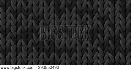 Seamless Pattern Of Dark Gray Knitted Woolen Cloth. Realistic Black Knitwear Texture For Background,