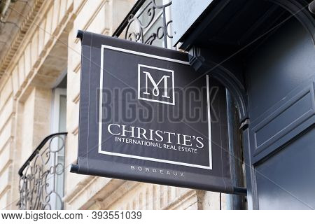 Bordeaux , Aquitaine / France - 11 01 2020 : Christies Sign Text And Logo Front Of Real Estate Luxur