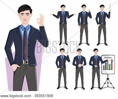 Business Man Character Vector Set. Businessman Male Characters In Standing Pose And Gestures For Dem