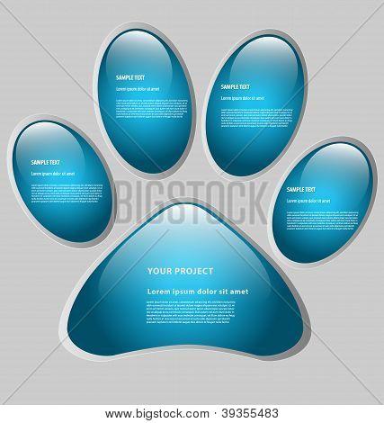 Paw print-shaped presentation/option template