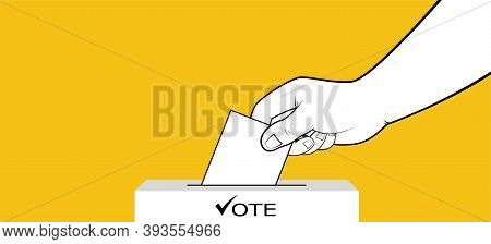 Presidential Election, Hand Places Ballot With Vote In Ballot Box. Presidential Election Campaign Co
