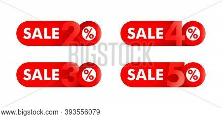 Sale Sticker Set - 20, 30, 40, 50 Off Red Badge With Different Percentage - Isolated Promo Web Butto