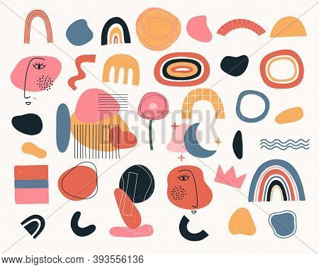 Set Of Geometric Shapes Various Shapes Scandinavian Style. Abstract Modern Objects, Elements For Adv