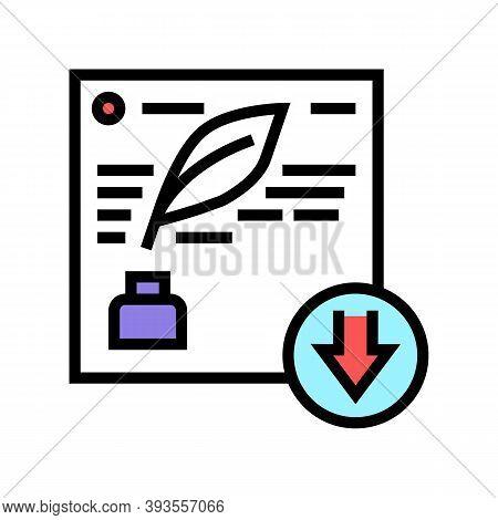 Writing Description Color Icon Vector. Writing Description Sign. Isolated Symbol Illustration