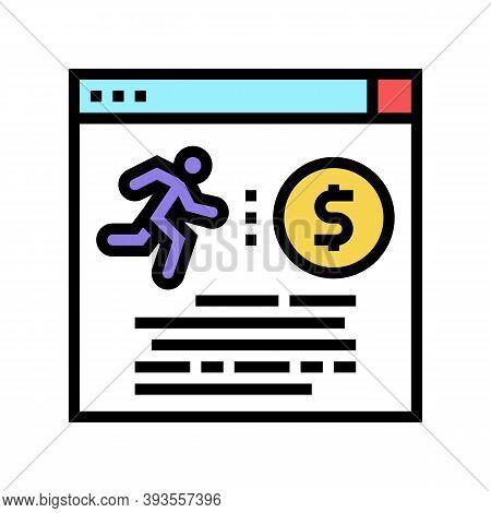 Runner Money Award Color Icon Vector. Runner Money Award Sign. Isolated Symbol Illustration