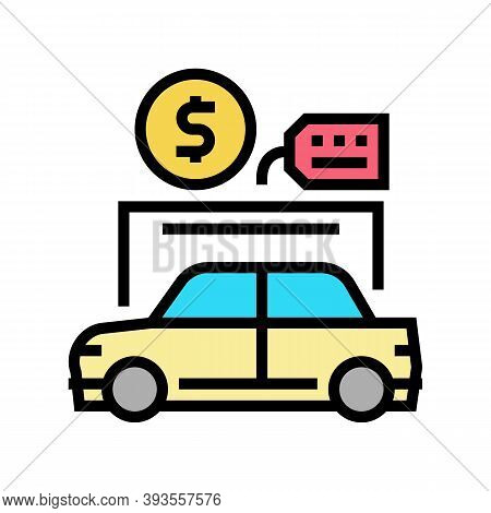 Car Rental Color Icon Vector. Car Rental Sign. Isolated Symbol Illustration