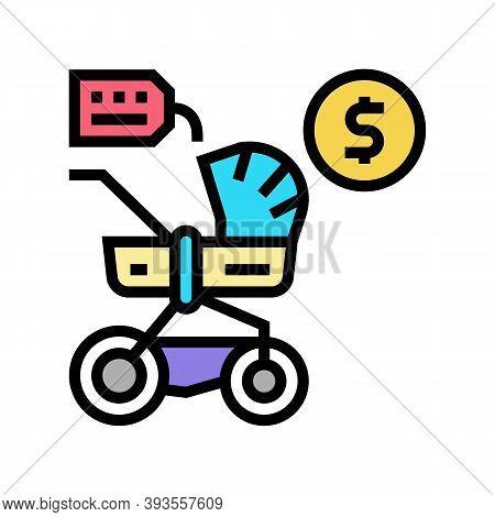 Stroller Rental Color Icon Vector. Stroller Rental Sign. Isolated Symbol Illustration
