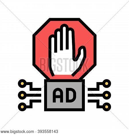 Advertisement Block Technology Color Icon Vector. Advertisement Block Technology Sign. Isolated Symb