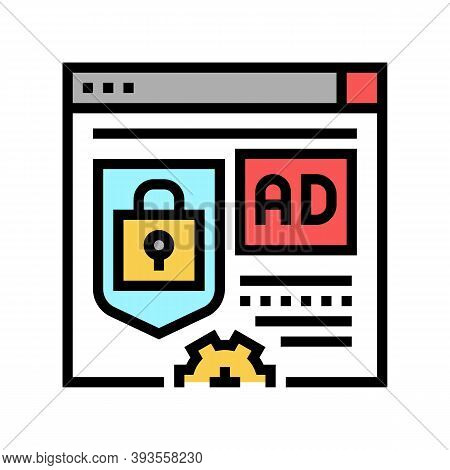 Blocked And Protecton For Advertisement Color Icon Vector. Blocked And Protecton For Advertisement S