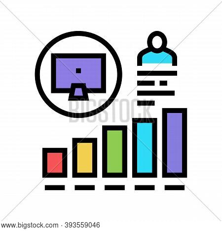 Worker Growing Indicators Color Icon Vector. Worker Growing Indicators Sign. Isolated Symbol Illustr