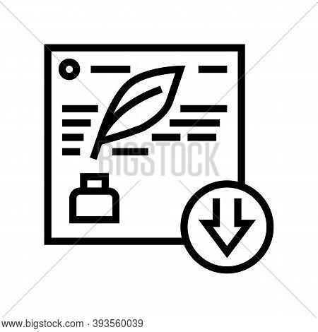 Writing Description Line Icon Vector. Writing Description Sign. Isolated Contour Symbol Black Illust