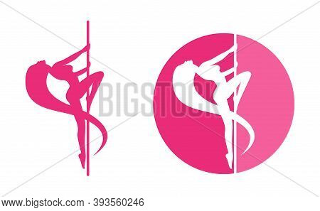 Striptease (or Pole Dance) Logo Template With Beautiful Woman Silhouette Dancing Around A Pole - For