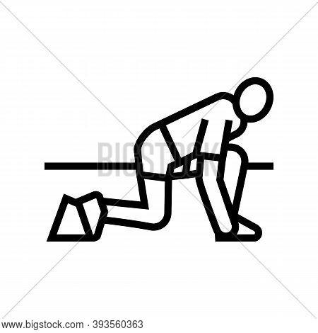 Runner Start Line Icon Vector. Runner Start Sign. Isolated Contour Symbol Black Illustration