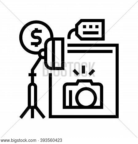 Photo Camera And Studio Rental Line Icon Vector. Photo Camera And Studio Rental Sign. Isolated Conto