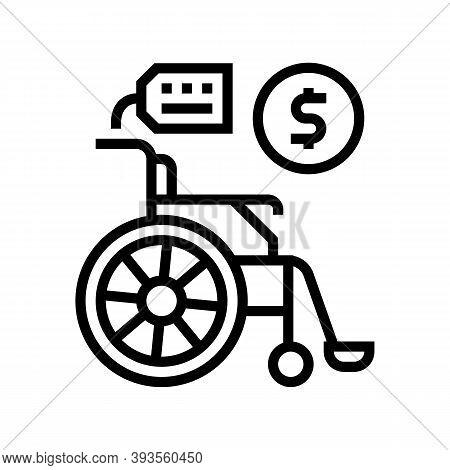 Wheel Chair Rental Line Icon Vector. Wheel Chair Rental Sign. Isolated Contour Symbol Black Illustra