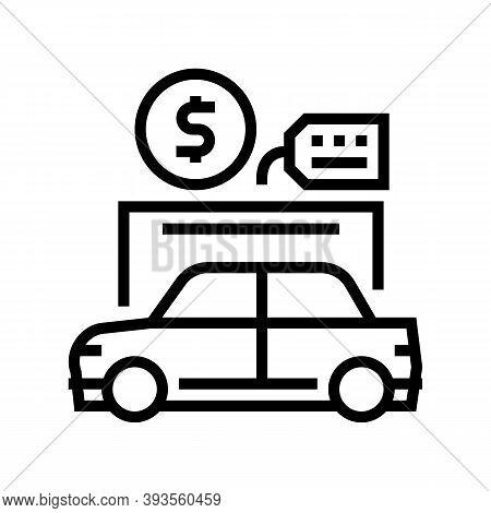 Car Rental Line Icon Vector. Car Rental Sign. Isolated Contour Symbol Black Illustration