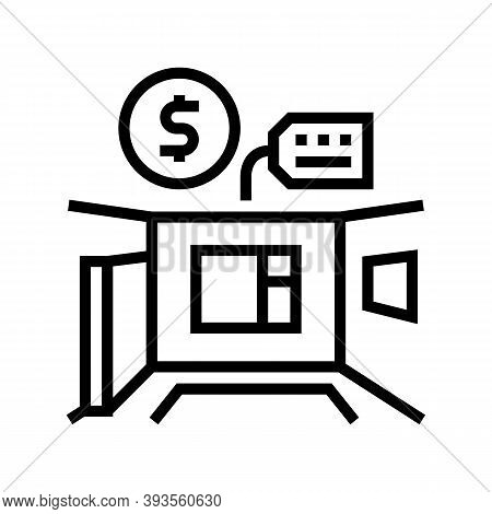 Apartment Rental Line Icon Vector. Apartment Rental Sign. Isolated Contour Symbol Black Illustration