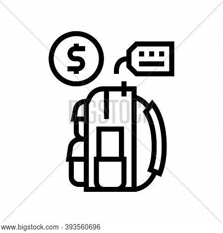 Backpack Tourist Rental Line Icon Vector. Backpack Tourist Rental Sign. Isolated Contour Symbol Blac