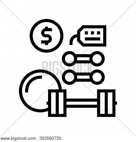 Sport Equipment Rental Line Icon Vector. Sport Equipment Rental Sign. Isolated Contour Symbol Black