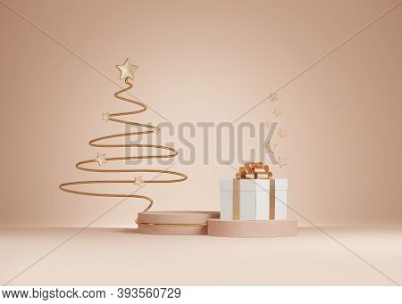 3d Christmas Background. Beige Podium, Display Set With Gift Box And Christmas Tree Line Art. Beauty