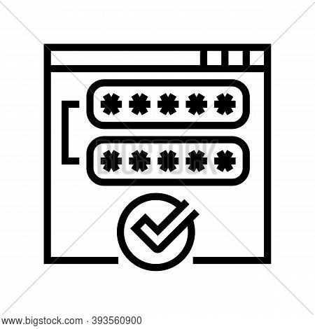 Access Password Accepted Line Icon Vector. Access Password Accepted Sign. Isolated Contour Symbol Bl