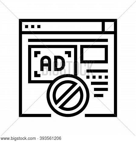 Blocked Ads Web Site Line Icon Vector. Blocked Ads Web Site Sign. Isolated Contour Symbol Black Illu