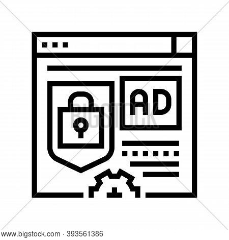 Blocked And Protecton For Advertisement Line Icon Vector. Blocked And Protecton For Advertisement Si