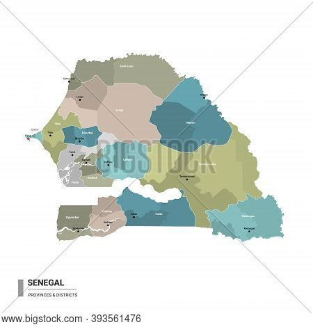 Senegal Higt Detailed Map With Subdivisions. Administrative Map Of Senegal With Districts And Cities