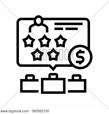 Past Employers Review Line Icon Vector. Past Employers Review Sign. Isolated Contour Symbol Black Il