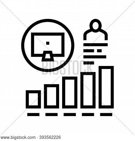 Worker Growing Indicators Line Icon Vector. Worker Growing Indicators Sign. Isolated Contour Symbol