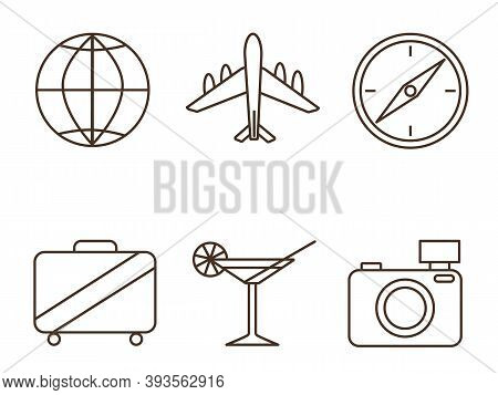 A Set Of Icons On The Theme Of Travel, Rest Abroad, Tourism To Other Countries.
