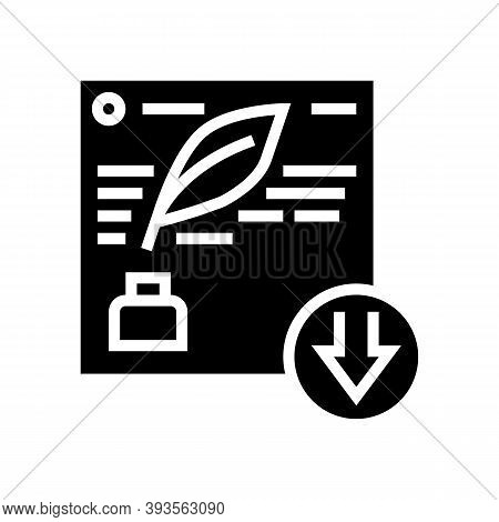 Writing Description Glyph Icon Vector. Writing Description Sign. Isolated Contour Symbol Black Illus