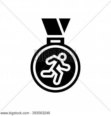 Medal Runner Award Glyph Icon Vector. Medal Runner Award Sign. Isolated Contour Symbol Black Illustr