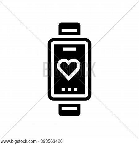 Heart Rhythm Watch Glyph Icon Vector. Heart Rhythm Watch Sign. Isolated Contour Symbol Black Illustr