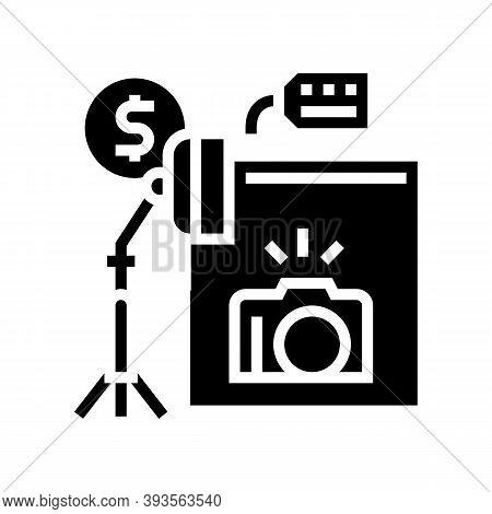 Photo Camera And Studio Rental Glyph Icon Vector. Photo Camera And Studio Rental Sign. Isolated Cont