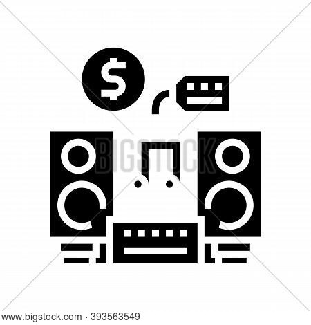 Music Device Rental Glyph Icon Vector. Music Device Rental Sign. Isolated Contour Symbol Black Illus