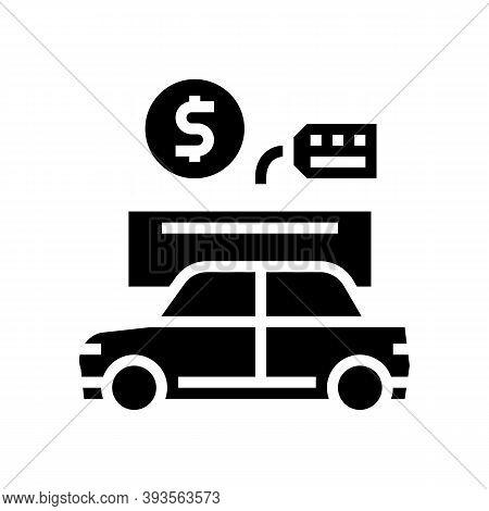 Car Rental Glyph Icon Vector. Car Rental Sign. Isolated Contour Symbol Black Illustration