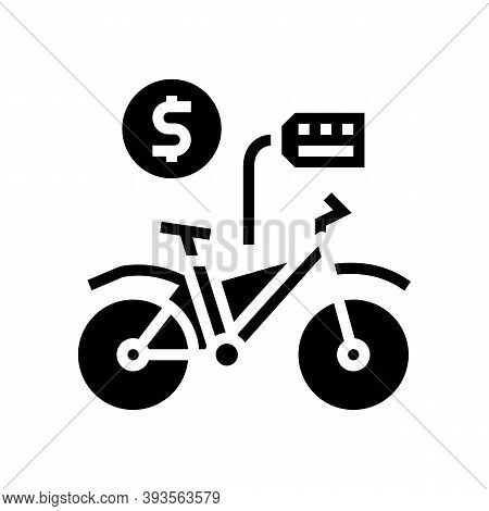 Bicycle Rental Glyph Icon Vector. Bicycle Rental Sign. Isolated Contour Symbol Black Illustration